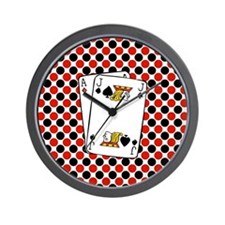 Red Black Cards Wall Clock