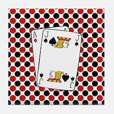 Red Black Cards Tile Coaster