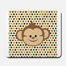 Monkey on Polka Dots Mousepad