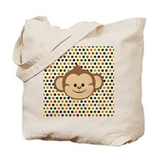 Monkey on Polka Dots Tote Bag