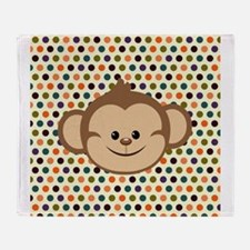 Monkey on Polka Dots Throw Blanket