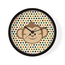 Monkey on Polka Dots Wall Clock