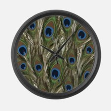 Sage Green Peacock pattern Large Wall Clock