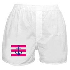 Navy Anchor on Hot Pink Stripes Boxer Shorts