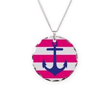 Navy Anchor on Hot Pink Stripes Necklace