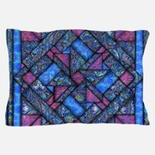 Purple and Blue Quilt Pillow Case