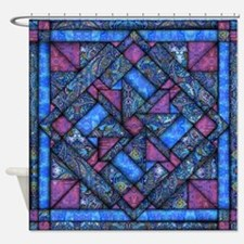 Purple and Blue Quilt Shower Curtain