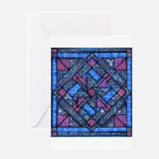 Purple and Blue Quilt Greeting Cards