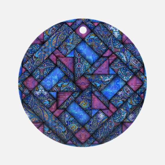Purple and Blue Quilt Ornament (Round)