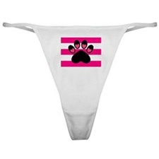 Paw Print on Hot Pink Classic Thong