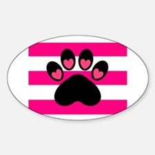 Paw Print on Hot Pink Decal