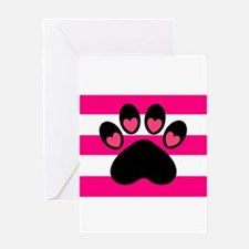 Paw Print on Hot Pink Greeting Cards
