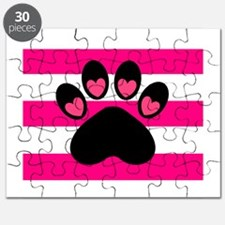 Paw Print on Hot Pink Puzzle