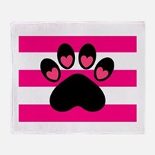 Paw Print on Hot Pink Throw Blanket