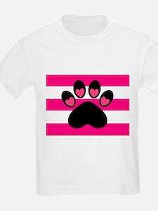 Paw Print on Hot Pink T-Shirt