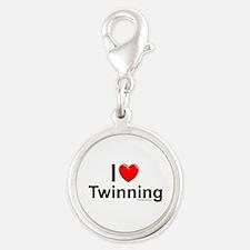 Twinning Silver Round Charm