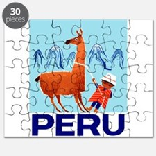 Vintage Child and Llama Peru Travel Poster Puzzle