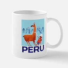 Vintage Child and Llama Peru Travel Poster Mugs