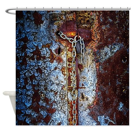 chained rust shower curtain by industrialhdr