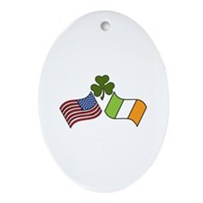 American Irish Flag Ornament (Oval)
