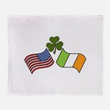 American Irish Flag Throw Blanket