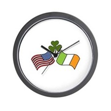 American Irish Flag Wall Clock
