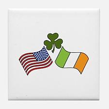 American Irish Flag Tile Coaster