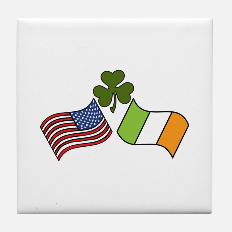 American Irish Flag Tile Coaster
