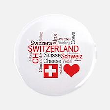"Cute Swiss flag 3.5"" Button (100 pack)"