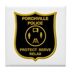 Porchville Police Tile Coaster