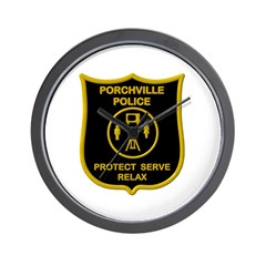 Porchville Police Wall Clock
