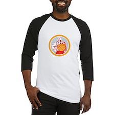 Basketball Player With Ball Circle Retro Baseball