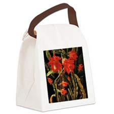 Cactus with Scarlet Blossoms Canvas Lunch Bag