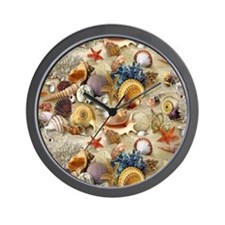 Seashells And Starfish Wall Clock