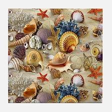 Seashells And Starfish Tile Coaster