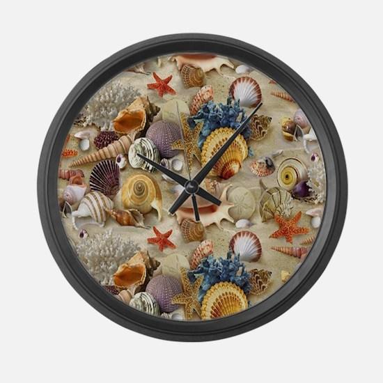 Seashells And Starfish Large Wall Clock