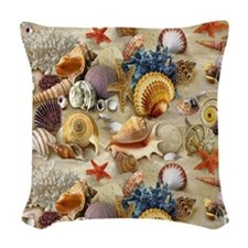 Seashells And Starfish Woven Throw Pillow
