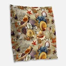 Seashells And Starfish Burlap Throw Pillow