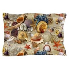 Seashells And Starfish Pillow Case
