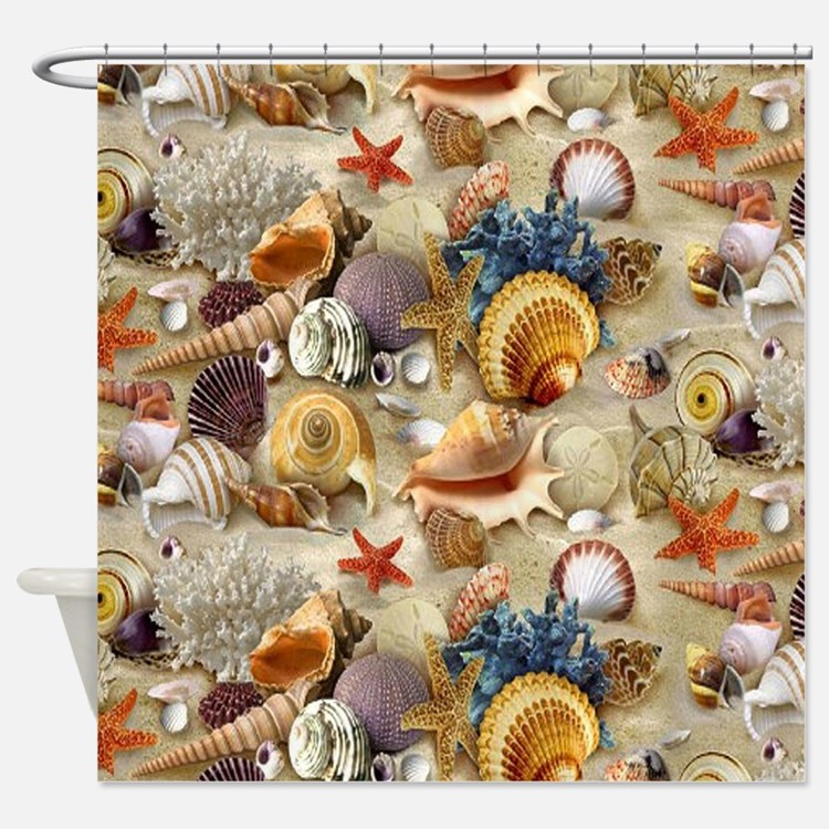 Seashells And Starfish Shower Curtain