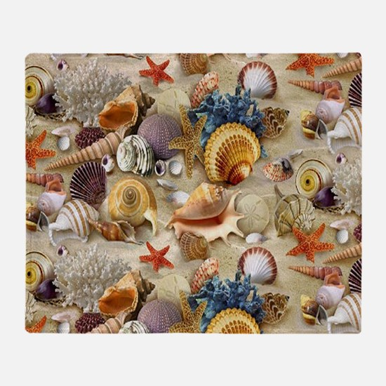 Seashells And Starfish Throw Blanket