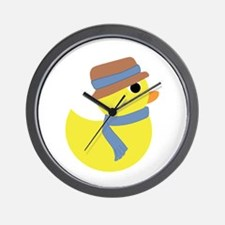 Rubber Duck in Scarf and Hat Wall Clock