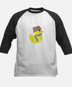 Rubber Duck in Scarf and Hat Baseball Jersey