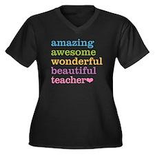 Amazing Teac Women's Plus Size V-Neck Dark T-Shirt