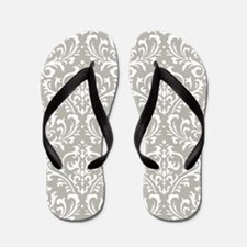 modern vintage grey and white damask Flip Flops
