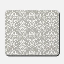 modern vintage grey and white damask Mousepad