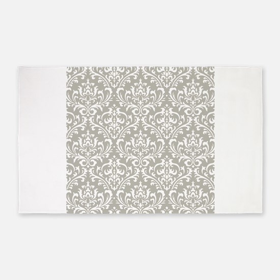 modern vintage grey and white damask 3'x5' Area Ru