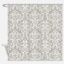modern vintage grey and white damask Shower Curtai