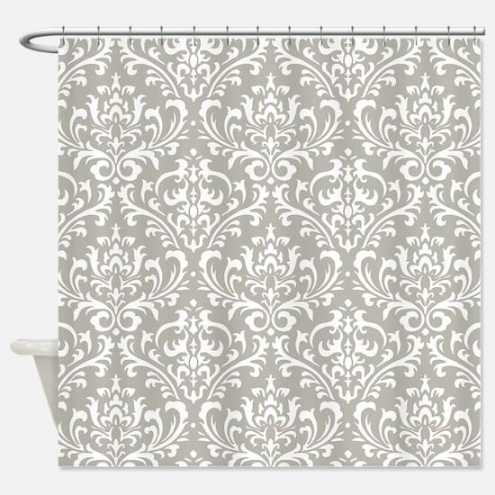 modern vintage grey and white damask Shower Curtai