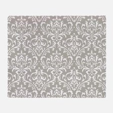 modern vintage grey and white damask Throw Blanket